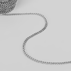 Chain bags, flat, 4,6 × 6,6 mm, 10±0.5 m, color silver