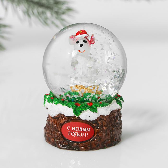 Снежный водяной шар «Серая мышка»