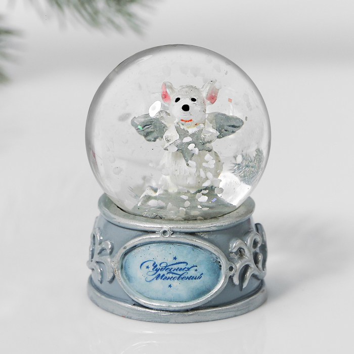 Снежный водяной шар «Серебрянная мышка»