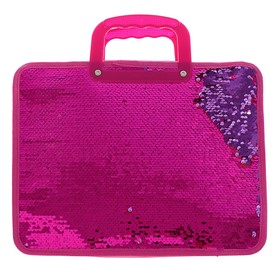 Папка для тетрадей формат А4, с ручками, Пайетки двуцветные-розовый/золото, розовый/фиолет