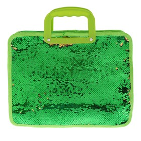 Папка для тетрадей формат А4, с ручками, Пайетки двуцветные-зеленый/красный, зеленый/золото