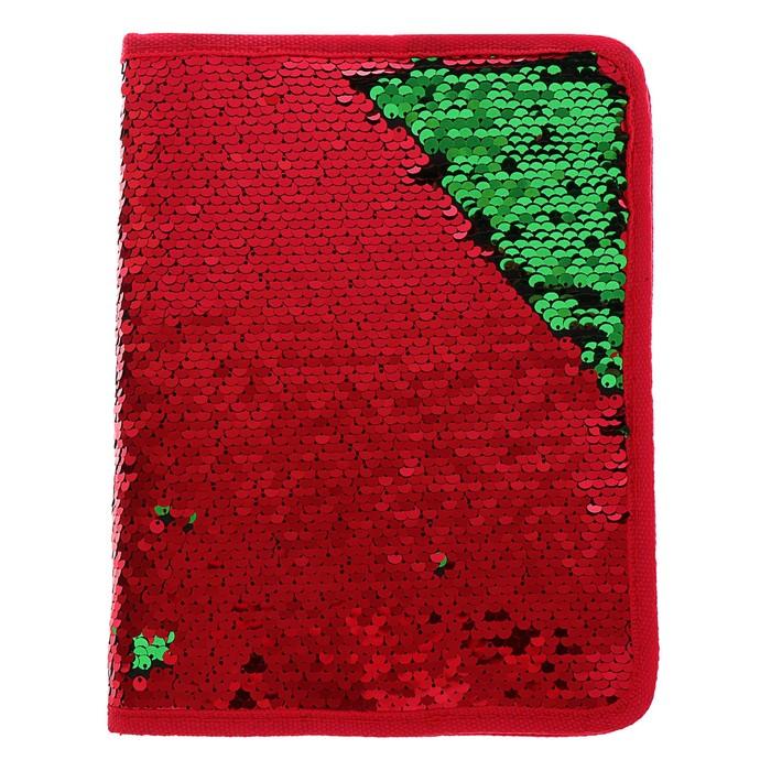 Папка для тетрадей формат А5, на молнии, Пайетки двуцветные-красный/золото, красный/зелёный - фото 798276763