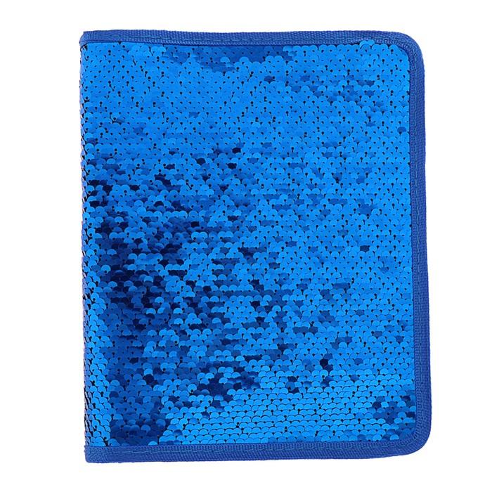 Папка для тетрадей формат А5, на молнии с 3-х сторон, Пайетки двуцветные-синий/золотистый - фото 798276774