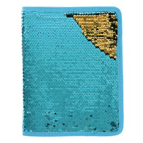 Folder for notebooks format A5 zipper 3 sides, two-color Sequins-turquoise/purple 436362