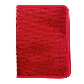 Folder for notebooks A4 format, with zipper, Sequins bicolor-red/gold, red/green