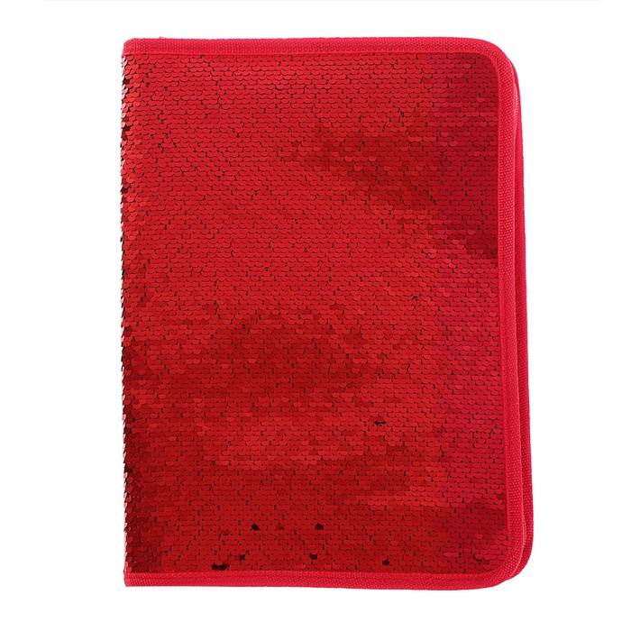 Папка для тетрадей формат А4, на молнии, Пайетки двуцветные красно-зеленые