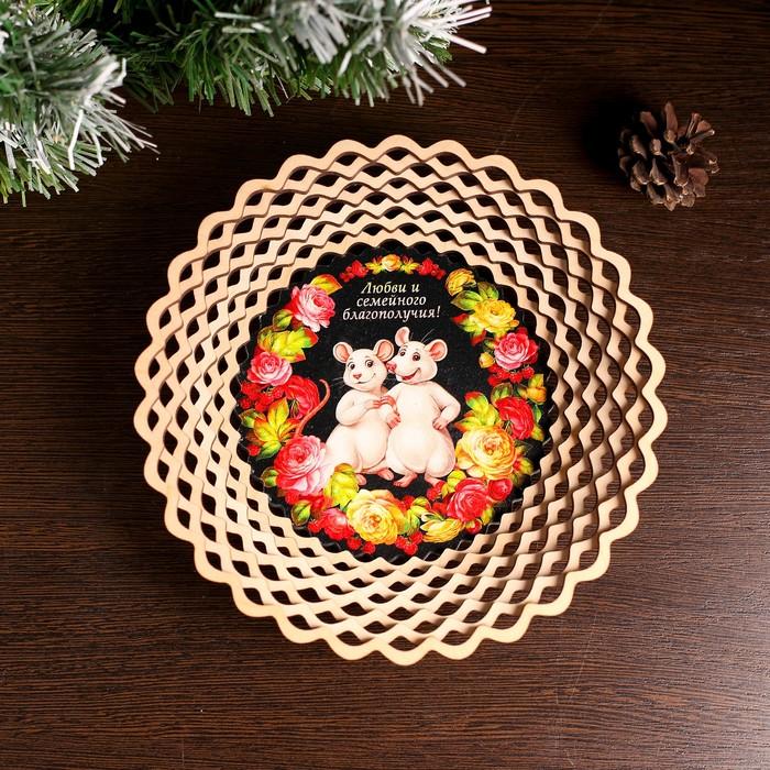 Сухарница «Мышки в пионах», любви и семейного благополучия, 20×20×4 см