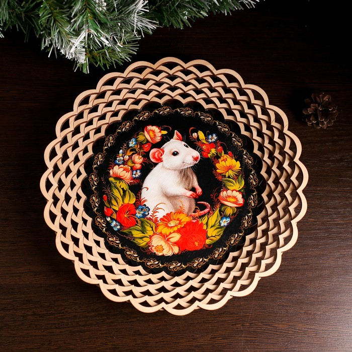 Сухарница «Крыска в цветах», 29×29×5 см