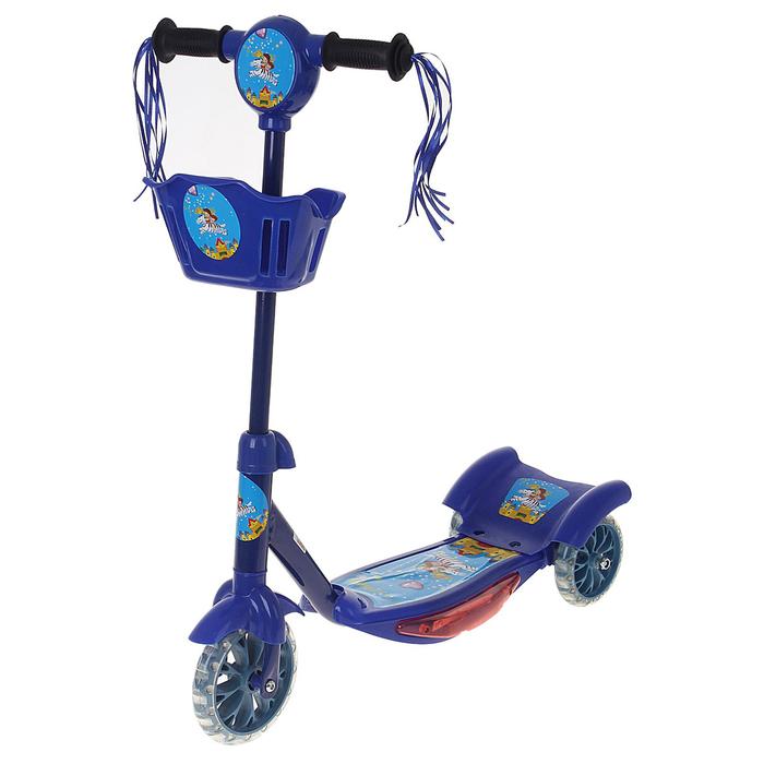 Самокат стальной ОТ-1313, три колеса PVC, d=100 мм, с корзиной, музыкой, цвет синий, до 40 кг