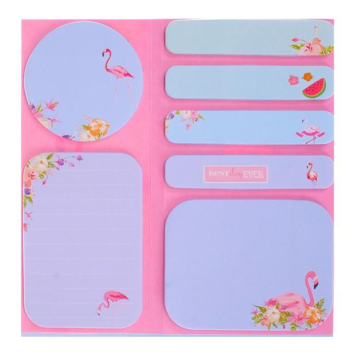 Блок с липким краем «Фламинго», 20 листов х 5 цветов, МИКС - фото 373642093