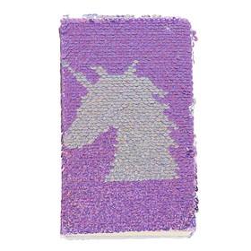 Записная книжка подарочная формат А6 80 листов, линия, Пайетки Единорог