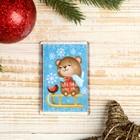 """Magnet acrylic """"Teddy Bear sledding"""" rectangle 5,2x7,7 cm"""