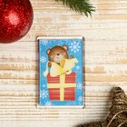 """Magnet acrylic """"Bear with gift"""" rectangle 5,2x7,7 cm"""