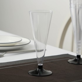 """Glass of champagne """"Cone"""", with a black leg color: transparent"""