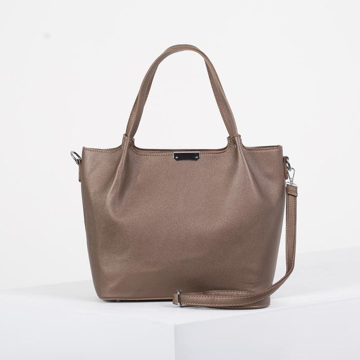 Сумка женская, отдел на молнии, наружный карман, длинный ремень, цвет коричневый - фото 798277307