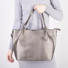 Сумка женская, отдел на молнии, наружный карман, длинный ремень, цвет серебро