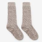 Гольфы детские шерстяные, фактурная вязка, цвет светло-серый, размер 16 - фото 76498575