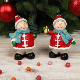 """Souvenir Polyresin """"Snowman in red coat with scarf"""" MIX 9x6,5x5 cm"""