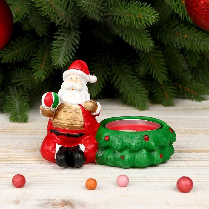 """Сувенир полистоун подсвечник """"Дед Мороз с подарками""""  7,5х9х6 см"""