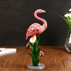 "Сувенир полистоун ""Розовый фламинго на одной ноге с каллой"" 26х9,5х7 см"