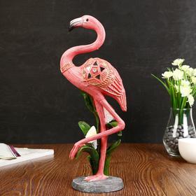"Сувенир полистоун ""Розовый фламинго на одной ноге с каллой"" 36х14х10 см"