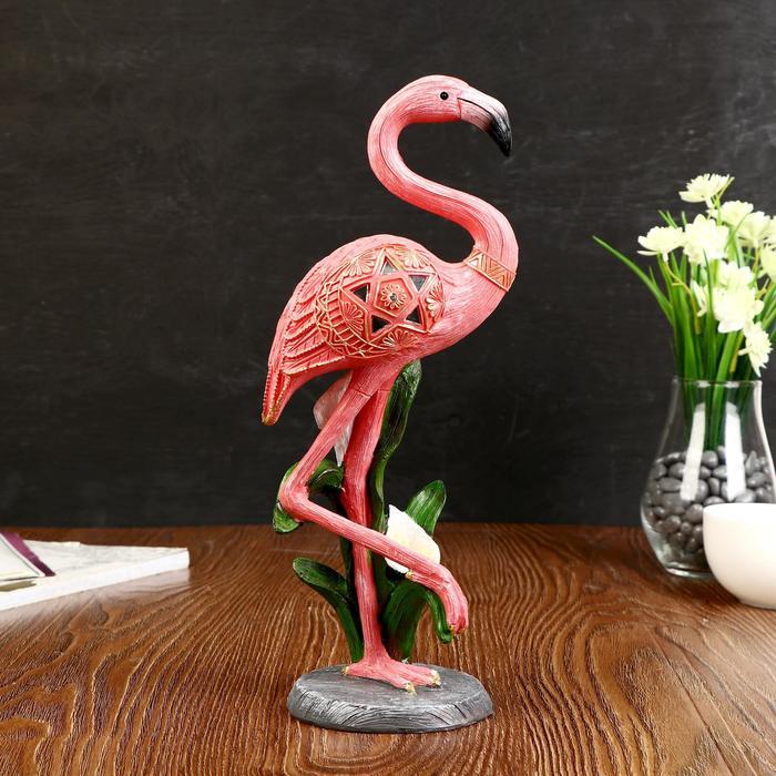 "Сувенир полистоун ""Розовый фламинго на одной ноге с каллой"" 31х12х9 см - фото 798277579"
