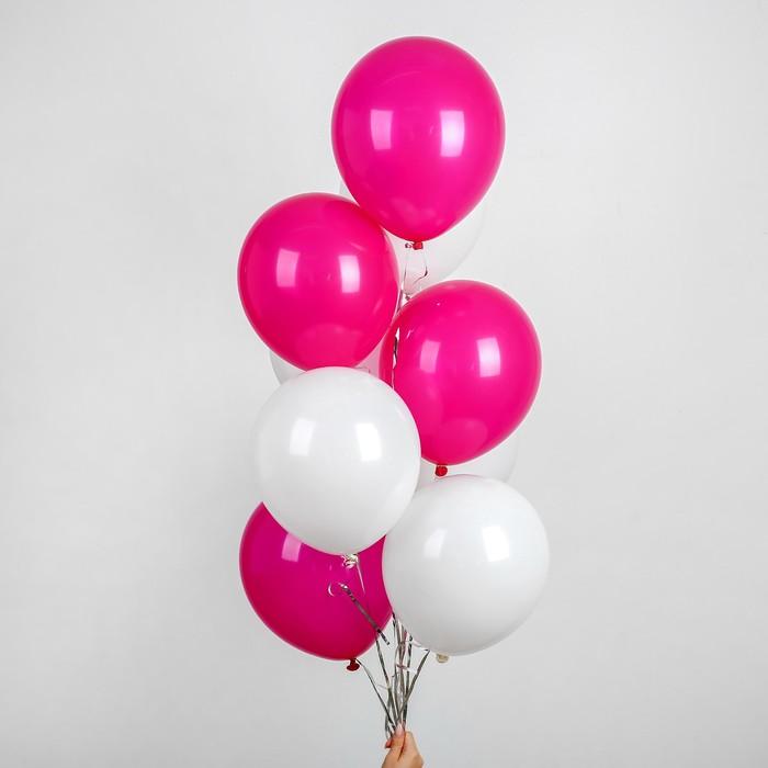 """Воздушные шары 12"""", лента, значки, розово-белые, 10 шт. - фото 308467047"""