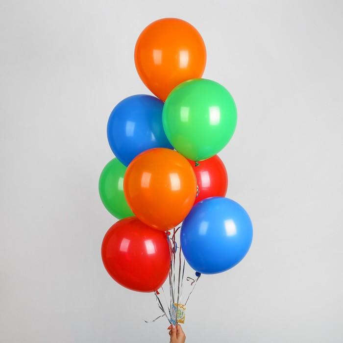 """Воздушные шары 12"""", лента, открытка, МИКС, 10 шт. - фото 137761188"""