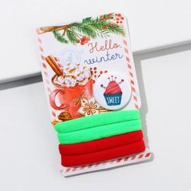 Новогодний набор резинки и значок Hello, winter, 9 х 6 см