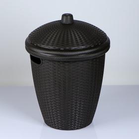 Корзина для белья круглая с крышкой Nature, 30 л, 38×38×57 см, цвет МИКС