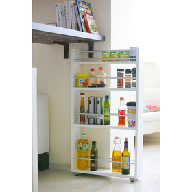 Выдвижная этажерка, для кухни и ванной комнаты 94х52х12 см, 4-х этажная, цвет белый