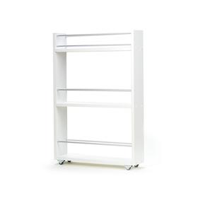 Выдвижная этажерка, для кухни и ванной комнаты 76х52х12 см, 3-х этажная,цвет белый