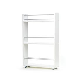 Выдвижная этажерка, для кухни и ванной комнаты 76х52х16 см, 3-х этажная, цвет белый