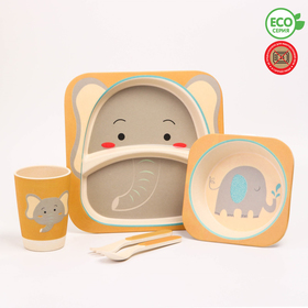 """Набор бамбуковой посуды """"Слон"""", тарелка, миска, стакан, приборы, 5 предметов"""