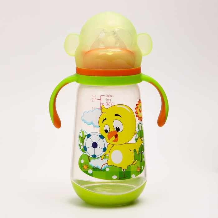 Бутылочка для кормления, 360 мл., широкое горло, цвет зеленый - фото 105537585