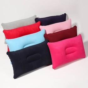 Подушка дорожная, надувная, 24 × 28 см, цвет МИКС