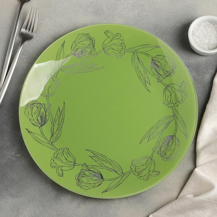 """Тарелка обеденная 30 см """"Тюльпаны"""", цвет мятный"""