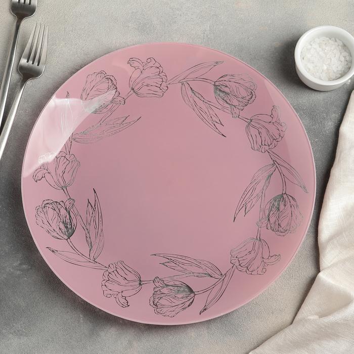 """Тарелка обеденная 30 см """"Тюльпаны"""", цвет розовый"""