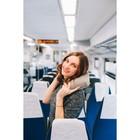 Подушка для шеи дорожная, надувная, 38 × 24 см, в коробке, цвет серый - фото 4639289