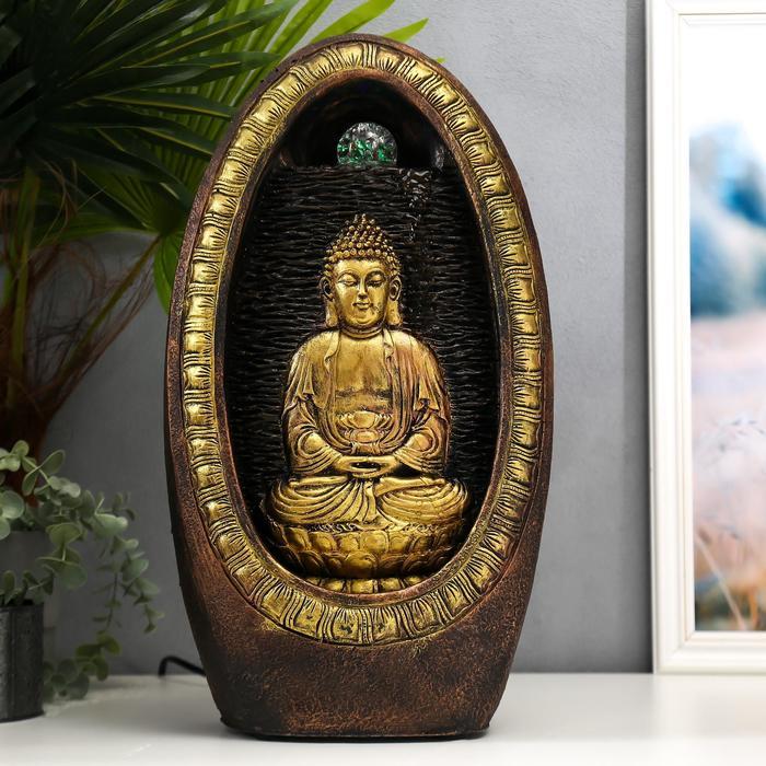 """Фонтан настольный от сети, подсветка """"Будда медитирует у водопада в скале"""" 46х12х24,5 см"""