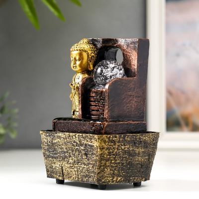 """Фонтан настольный от сети """"Маленький будда у фонтана-лестницы"""" 18,5х10х14,5 см"""