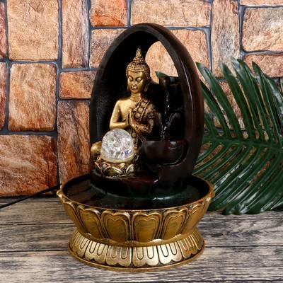 """Фонтан настольный от сети, подсветка """"Будда у скалы с 3-мя чашами"""" 28,5х20х20 см"""