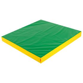 Мат 100 х 100 х 10 см, винилискожа, цвет зелёный/жёлтый