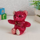 """Soft toy """"Bear"""" with sequins, color raspberry"""