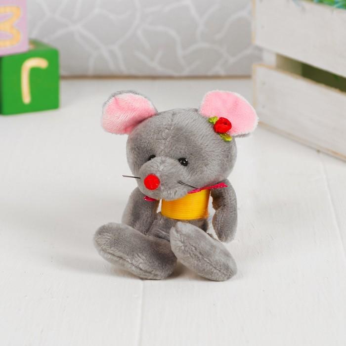 """Мягкая игрушка-присоска """"Мышка на пружинке"""" цвет МИКС"""