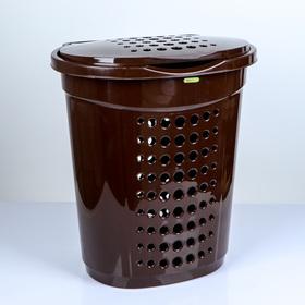 Корзина для белья с крышкой 60 л, 50×37×57 см, цвет тёмно-коричневый
