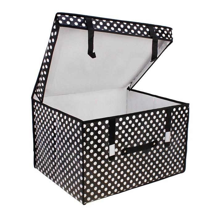 Короб для хранения «Горошек» с крышкой, 50 × 40 × 30 см, цвет чёрно-белый