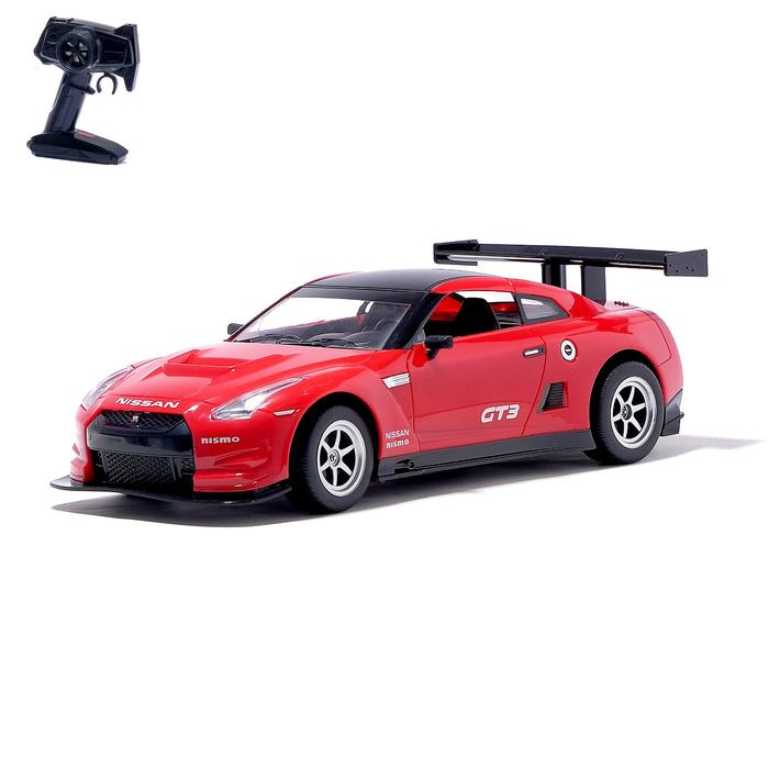 Машина радиоуправляемая Nissan GT-R, масштаб 1:16, работает от аккумулятора, свет, цвет красный - фото 684133683
