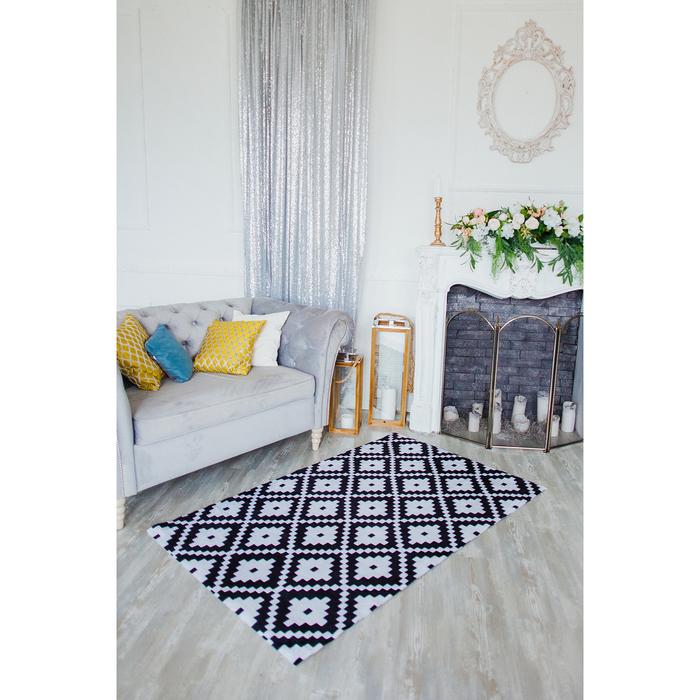 """Коврик для дома 100×160 см """"Грета"""", цвет чёрно-белый"""