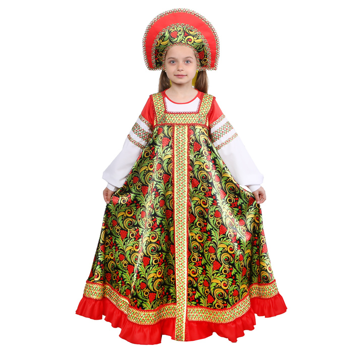 Русский народный костюм «Рябинушка» для девочки, р. 32, рост 122-128 см